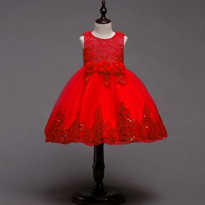 Kid Girl Floral Embroidered Sequined Sleeveless Princess Party Tulle Dress