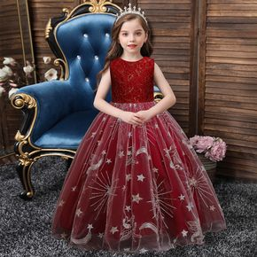 Kid Girl Christmas Floral Pattern Sleeveless Stars Moon Embroidered Bowknot Design Princess Party Mesh Dress