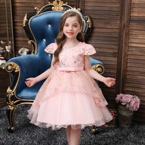 Kid Girl Sequined Cap-sleeve Bowknot Design Princess Costume Party Pink Mesh Dress