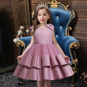 Toddler Girl Bows Design Sleeveless Layered Pleated Princess Costume Party Dress