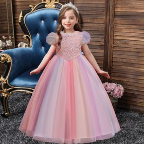 Kid Girl Sequined Cap-sleeve Ombre/Solid Princess Costume Party Mesh Dress