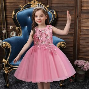 Kid Girl Floral Butterfly Embroidered Sleeveless Princess Party Mesh Dress