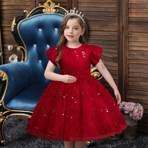 Kid Girl Sequined Short-sleeve Princess Costume Party Mesh Dress