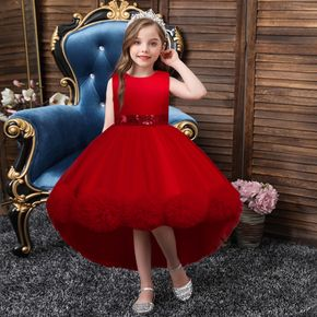 Kid Girl Bowknot Design Sequined Sleeveless Princes Party Mesh Tailing Dress