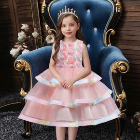 Kid Girl Floral Embroidered Sleeveless Princes Party Mesh Layered Dress