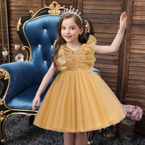 Toddler Girl Floral Embroidered Ruffled Princess Costume Party Mesh Dress