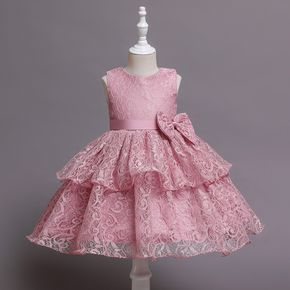 Toddler Girl Floral Pattern Bowknot Lace Design Sleeveless Layered Princess Party Dress