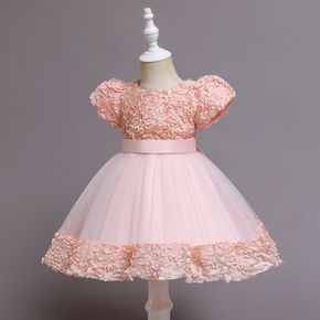 Toddler Girl Floral Pattern Puff-sleeve Bowknot Design Mesh Princess Party Dress