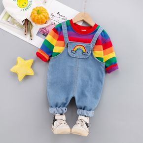 2pcs Baby Rainbow Striped Pullover and Denim Overalls Set