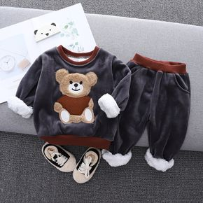 2pcs Baby Cartoon Bear Pattern Thickened Fleece Lined Grey Long-sleeve Pullover and Trousers Set