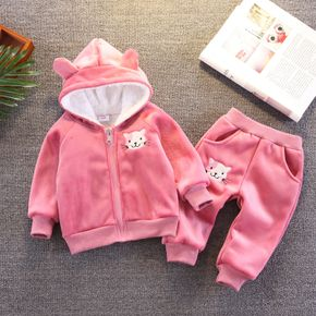 2pcs Baby Cartoon Cat Embroidered 3D Ears Pink Long-sleeve Thickened Fleece Lined Hoodie Set