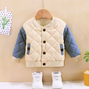 Baby Thickened Lined Diamond Quilted Cotton Long-sleeve Outwear