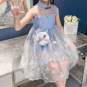 Kid Girl Floral Embroidery Sleeveless Zipper Mesh Costume Party Dress