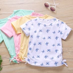 Toddler Girl Butterfly Print/Solid Drawstring Casual T-shirt