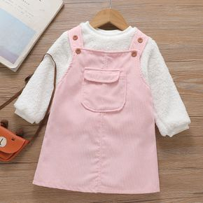 2-piece Toddler Girl Fuzzy White Pullover and Button Pocket Design Pink Overall Dress Set