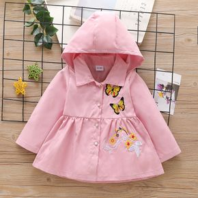Toddler Girl Floral Butterfly Embroidered Button Design Hooded Trench Coat
