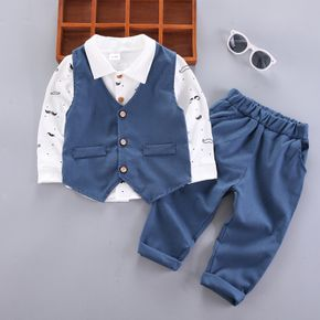 2-piece Toddler Boy Faux-two Button Design Lapel Collar Shirt and Solid Pants Party Set