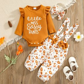 100% Cotton 3pcs Baby Letter Print Ruffle Long-sleeve Ribbed Romper and Floral Print Suspender Overalls Set