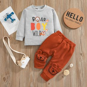 100% Cotton 2pcs Letter and Cartoon Lion Print Long-sleeve Pullover and Trousers Set