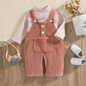 2pcs Baby Pink Striped Turtleneck Long-sleeve Top and Corduroy Overalls Set