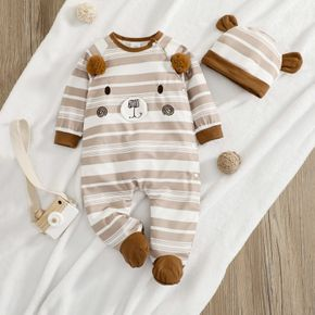 100% Cotton 2pcs Baby Cartoon Bear Pattern Brown Striped Long-sleeve Footed Jumpsuit Set