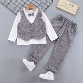 2-piece Kid Boy Faux-two Plaid Vest Long-sleeve Top with Bow tie and Pants Party Suits Set