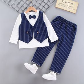 2-piece Kid Boy Faux-two Striped Vest Long-sleeve Top with Bow tie and Elasticized Pants Party Suit Set