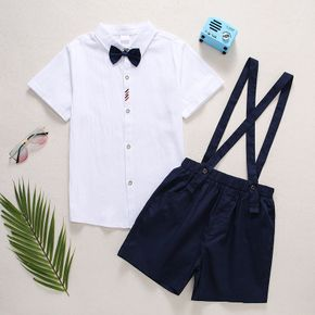 Kid Boy 100% Cotton Shirt with Bow Tie and Overall Shorts Party Suits Set