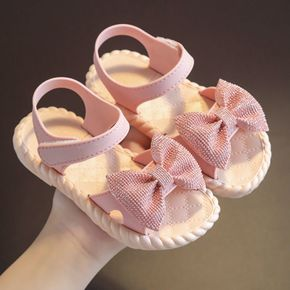 Toddler / Kid Pure Color Velcro Open Toe Bow Sandals