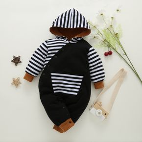 Striped Splicing Long-sleeve Hooded Baby Snap-up Jumpsuit