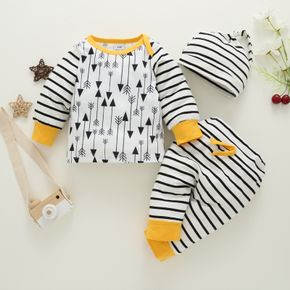 3pcs Baby All Over Print Striped Cotton Long-sleeve Set