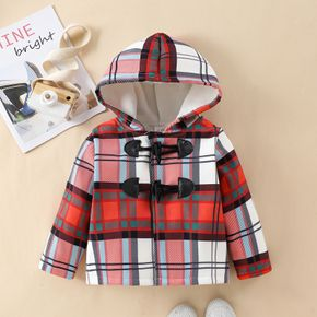 Christmas Red Plaid 100% Cotton Baby Long-sleeve Hoodie Outwear