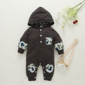 Camouflage Splicing Dark Grey Cotton Long-sleeve Hooded Baby Jumpsuit