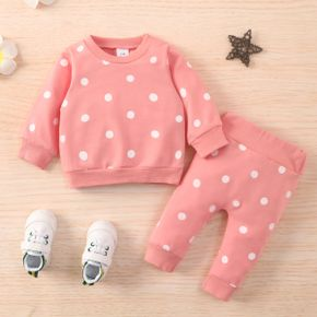 2pcs Baby All Over Polka Dots Long-sleeve Pullover and Trousers Set