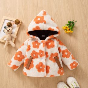 Baby All Over Floral Long-sleeve Hooded Thickened Fleece Coat