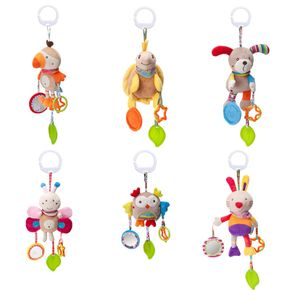 Baby Soft Hanging Rattles Toys, Cute Cartoon Animal Bed Hanging Wind Chime Newborn Crib Toys Car Seat Stroller Toys with Teether