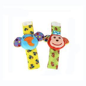 Newborn Baby Cartoon Wrist Strap Animal Socks with Rattle Bell Baby Watch Foot Socks Soft Plush Rattle Early Education Toy Gift