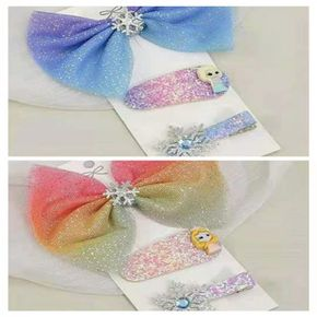 3-pack Colorful Lace Snowflake Bow Decor Hair Clip for Girls