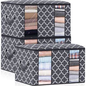 Foldable Organizer Storage Bags with Double Clear Window Carry Handles for Blanket Comforter Bedding