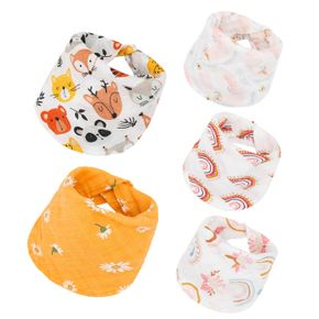 Cartoon Bamboo Cotton Soft Layers Drooling and Teething Bibs for Newborns and Toddlers