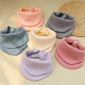 100% Cotton Solid Color Drooling and Teething Bibs for Newborn and Toddler