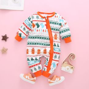 Christmas Theme All Over Print Baby Long-sleeve Jumpsuit