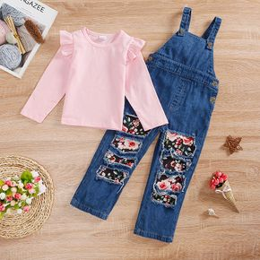 2-piece Toddler Girl Ruffled Long-sleeve Pink Top and Floral Patchwork Ripped Denim Overalls Set