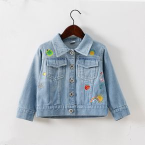 100% Cotton Cartoon Embroidered Baby Long-sleeve Denim Distressed Jacket Coat