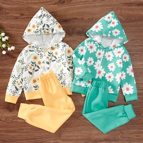 2-piece Toddler Girl Floral Print Zipper Hooded Jacket and Solid Pants Set