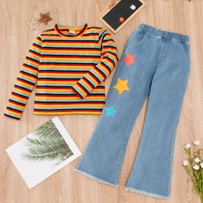 2-piece Kid Girl Colorful Stripe Pullover and Stars Print Denim Flared Jeans