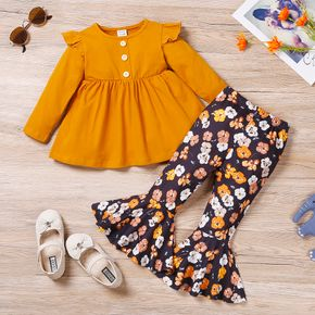2-piece Toddler Girl Ruffled Button Design Long-sleeve Top and Floral Print Flared Pants Set