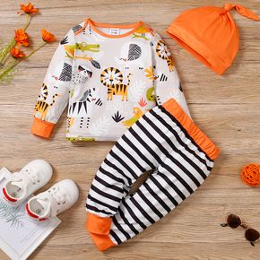 3pcs Baby All Over Cartoon Animals Print Long-sleeve Pullover and Striped Trousers Set