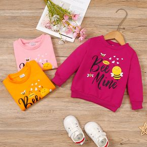 Toddler Girl Letter Bee Print Casual Pullover Sweatshirt