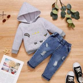 2-piece Baby Boy Dinosaur Embroidered Fleece Lined Hoodie Sweatshirt and Ripped Jeans Set